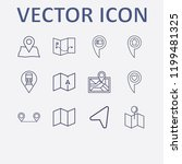 outline 12 location icon set.... | Shutterstock .eps vector #1199481325