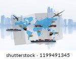 transportation  import export... | Shutterstock . vector #1199491345