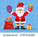 happy santa claus with presents ... | Shutterstock .eps vector #1199516482