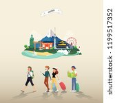 tourist attraction landmarks in ... | Shutterstock .eps vector #1199517352