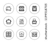 stove icon set. collection of 9 ... | Shutterstock .eps vector #1199518705