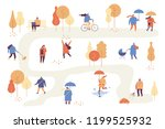 different people in warm... | Shutterstock .eps vector #1199525932