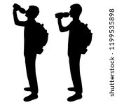 the guy drinks water. two... | Shutterstock .eps vector #1199535898