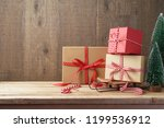 christmas background with gift... | Shutterstock . vector #1199536912