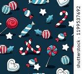 cute doodles christmas elements.... | Shutterstock .eps vector #1199537692