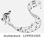 abstract black music notes on...   Shutterstock .eps vector #1199541505