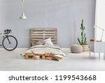grey bed room interior style.... | Shutterstock . vector #1199543668
