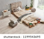 bed room and wood detail style... | Shutterstock . vector #1199543695