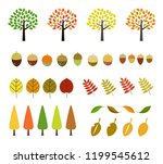 colorful autumn leaves icon set | Shutterstock .eps vector #1199545612