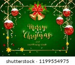green christmas card with... | Shutterstock . vector #1199554975