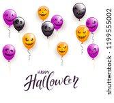 text happy halloween and... | Shutterstock . vector #1199555002