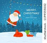 happy santa claus with bag ... | Shutterstock . vector #1199555032