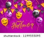 lettering happy halloween on... | Shutterstock . vector #1199555095