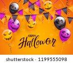 lettering happy halloween on... | Shutterstock . vector #1199555098