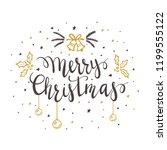 black lettering merry christmas ... | Shutterstock . vector #1199555122