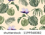white strelitzia and tropical... | Shutterstock .eps vector #1199568382