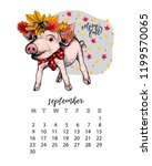year calendar with pig. monthly ... | Shutterstock .eps vector #1199570065