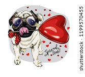 hand drawn pug with heart shape ... | Shutterstock .eps vector #1199570455