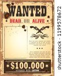 wild west torn paper  wanted .... | Shutterstock .eps vector #1199578672