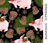 seamless pattern with christmas ... | Shutterstock .eps vector #1199603632