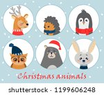 christmas set with cute animals ...