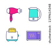 household appliance color icons ...   Shutterstock .eps vector #1199614348