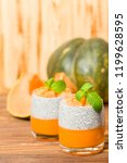 chia pudding with pumpkin puree ... | Shutterstock . vector #1199628595