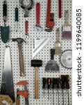 various carpentry tools in a... | Shutterstock . vector #1199640085