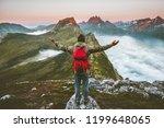 man hiker raised hands... | Shutterstock . vector #1199648065