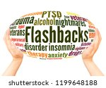 Small photo of Flashbacks word cloud hand sphere concept on white background.