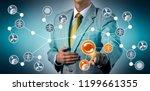 male manager feeding... | Shutterstock . vector #1199661355
