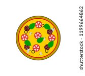 hot pizza with tomato  cheese... | Shutterstock .eps vector #1199664862