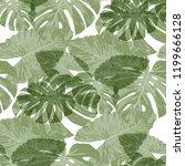 tropical leaves. seamless... | Shutterstock .eps vector #1199666128