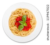 plate with spaghetti, sauce and basil on white background - stock photo
