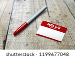 blue hello my name is tag | Shutterstock . vector #1199677048
