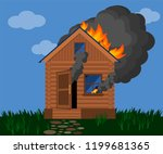 burning wooden house. fire in a ... | Shutterstock .eps vector #1199681365