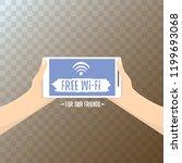 hand holding white smart phone...   Shutterstock .eps vector #1199693068