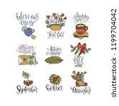 cozy fall vector lettering set. ... | Shutterstock .eps vector #1199704042
