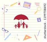 family under umbrella   family... | Shutterstock .eps vector #1199708692
