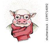 portrait of a piggy. sweet... | Shutterstock .eps vector #1199714092