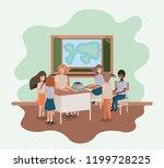 female teacher in the geography ... | Shutterstock .eps vector #1199728225