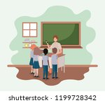 teacher in the classroom with... | Shutterstock .eps vector #1199728342