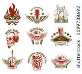 set of vintage music emblems.... | Shutterstock .eps vector #1199738692