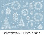 vintage paper cut out white... | Shutterstock .eps vector #1199767045