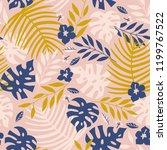 vector seamless tropical leaves ... | Shutterstock .eps vector #1199767522