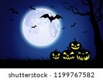 halloween background... | Shutterstock . vector #1199767582