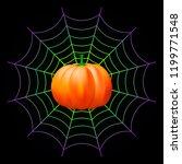 halloween  pumpkin and spider... | Shutterstock .eps vector #1199771548