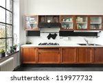 Stock photo beautiful house interior view of the kitchen 119977732