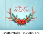 merry christmas lettering with... | Shutterstock .eps vector #1199808478