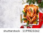 roasted chicken with oranges  ... | Shutterstock . vector #1199823262